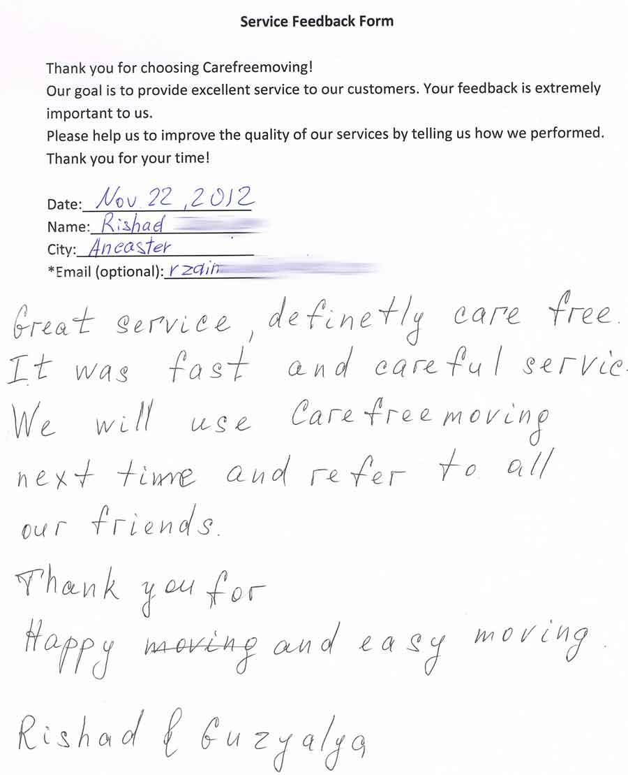 Great service, definitely care free. It was fast and careful service we will use Carefreemoving next time and refer to all our friends. Thank you for happy and easy moving.