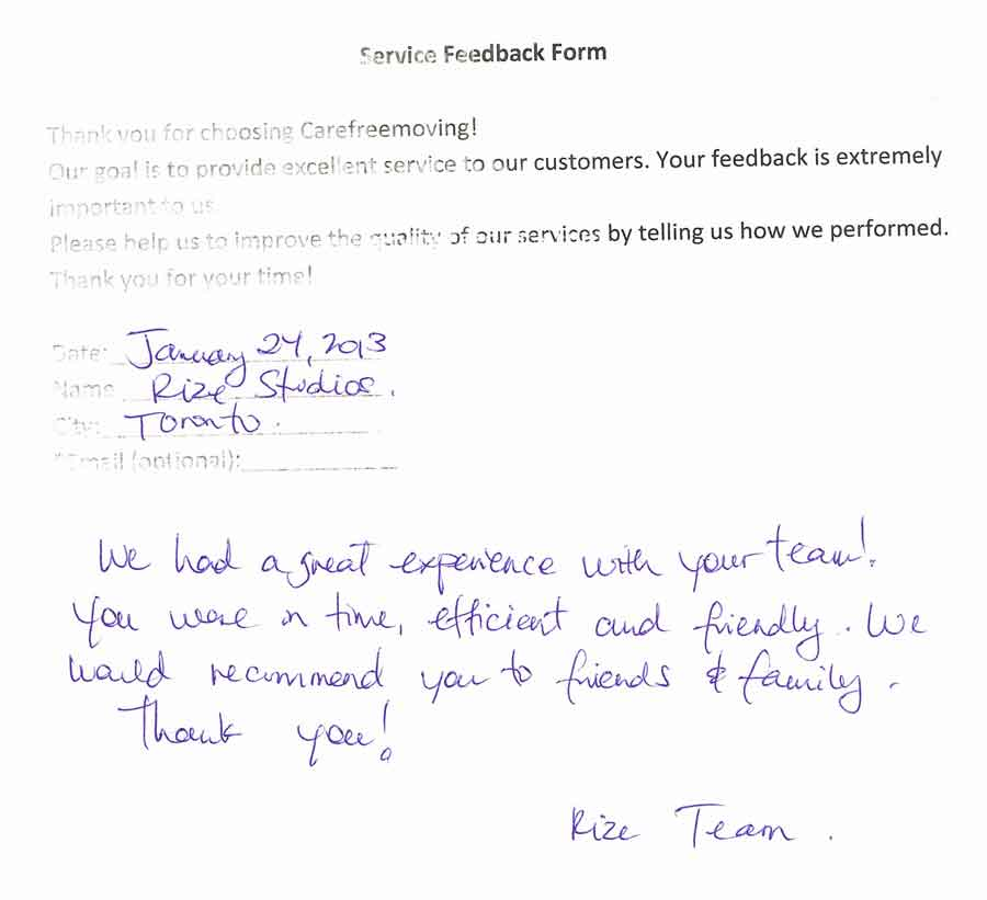 We had a great experience with your team