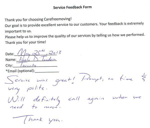 Service was great! Prompt on time & very polite. Will definitely call again when we will need to move. Thank you.