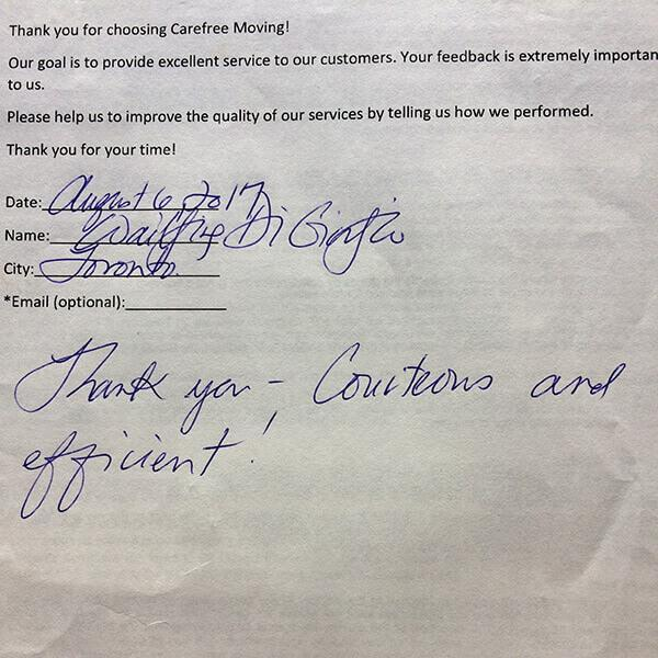 Thank you - Courteous and efficient!