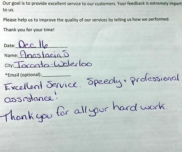 Excellent service. Speedy + professional assistance