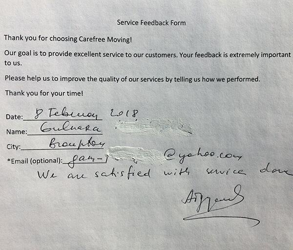 We are satisfied with service that we got.
