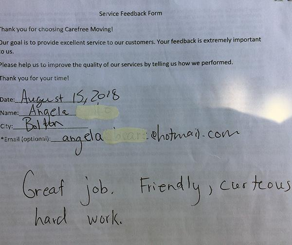 Great job, friendly, courteous, hard work.