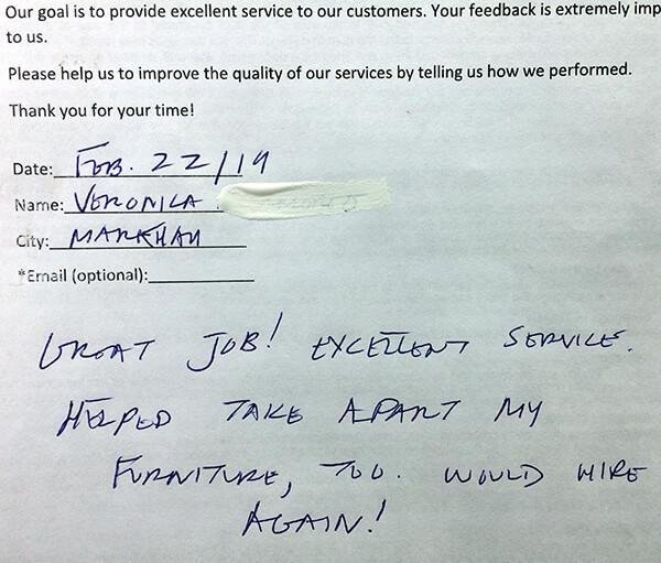 Great job! Excellent service. Helped take apart my furniture, would hire again!