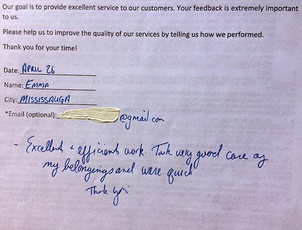 Excellent + efficient work. Took very good care of my belongings and were quick. Thank you.