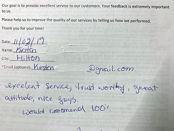 Excellent service, trust worthy, great attitude, nice guys