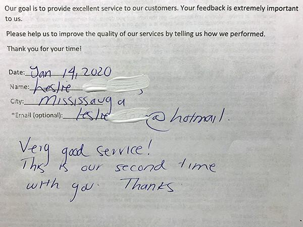 Very good service! Thanks is our second time with you