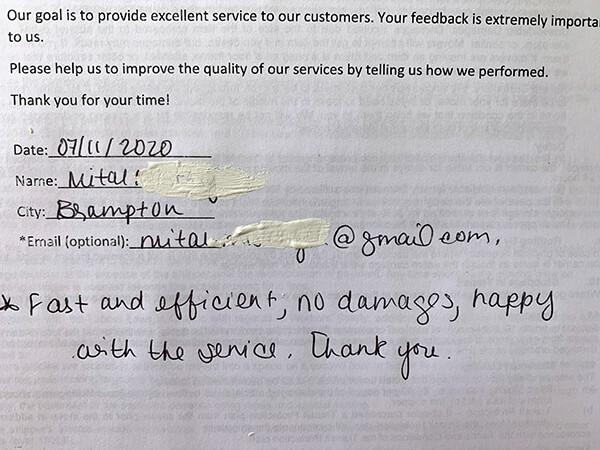 Fast and efficient, no damages, happy with the service