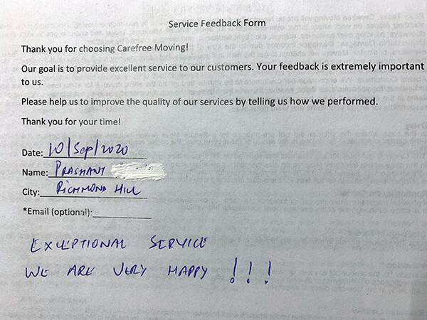 Exceptional service, we are very happy